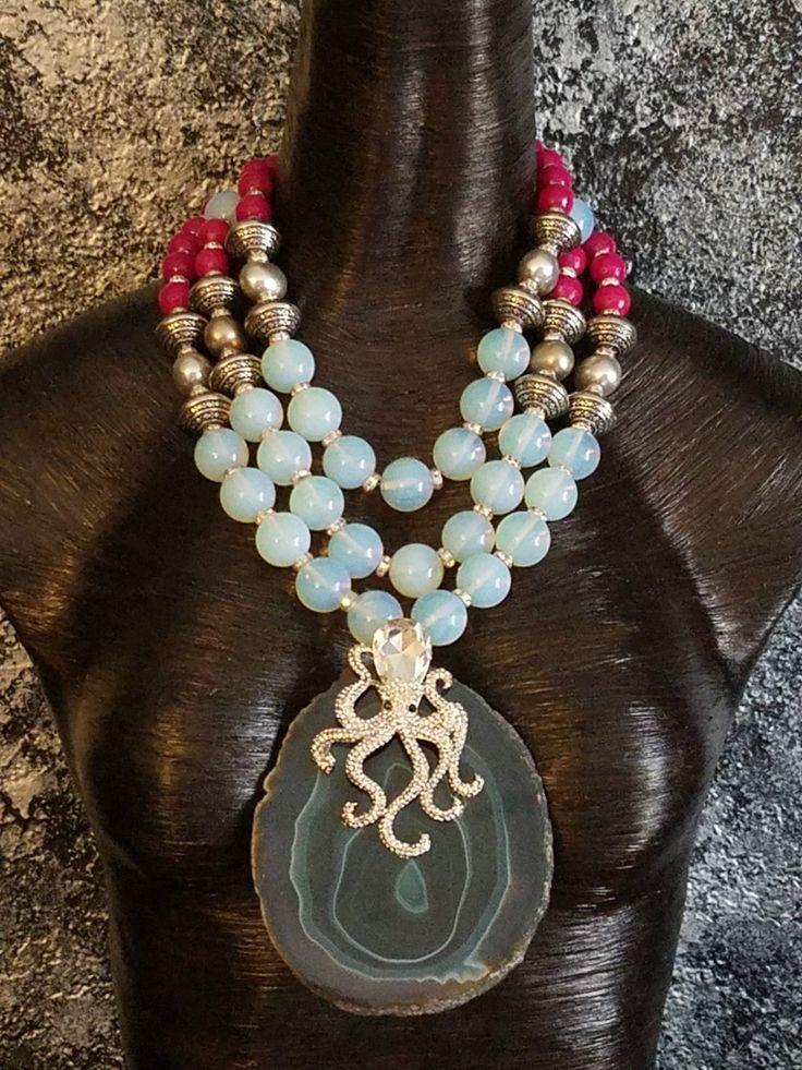 Teal Agate Pendant Statement Necklace Rhinestone Octopus Opal Necklace OOAK Wearable Art Necklace Mermaid Jewelry Bold Chunky Jewelry Huge by KATROXWEARATTITUDE on Etsy