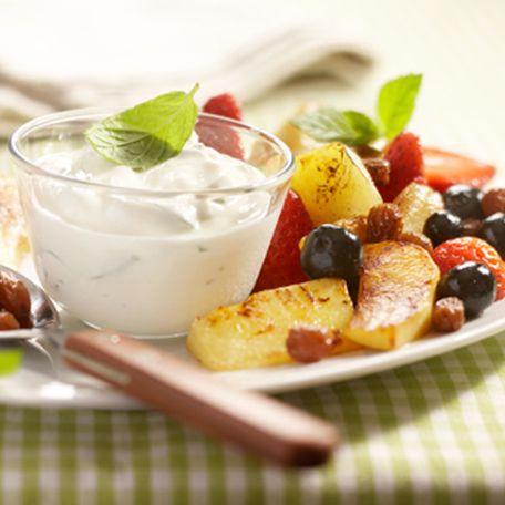 Warm gebakken fruit met friszure kwark