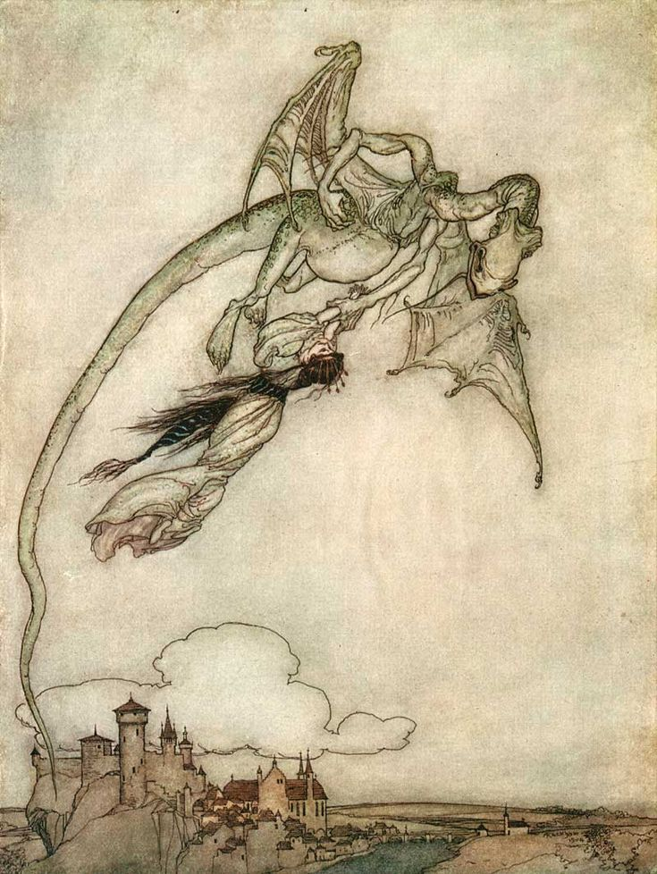 Pot-bellied dragon carries off a tiny princess like livestock. Fairy tale cliche has a viscerally sympathetic quality in Arthur Rackham's delicate illustrations.: Arthur Rackham, Clever Brothers, Arthurrackham, Illustrations, Dragon, Rackham Illustration, Fairytales, Grimm Fairy Tales
