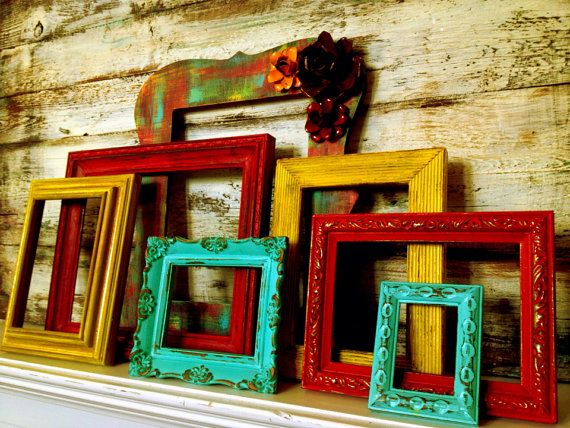 Reserved for Allison -Set of 7 Vintage EMPTY / OPEN Wall FRAMES Metal Flower Accents - Painted in Red , Aqua & Yellow.