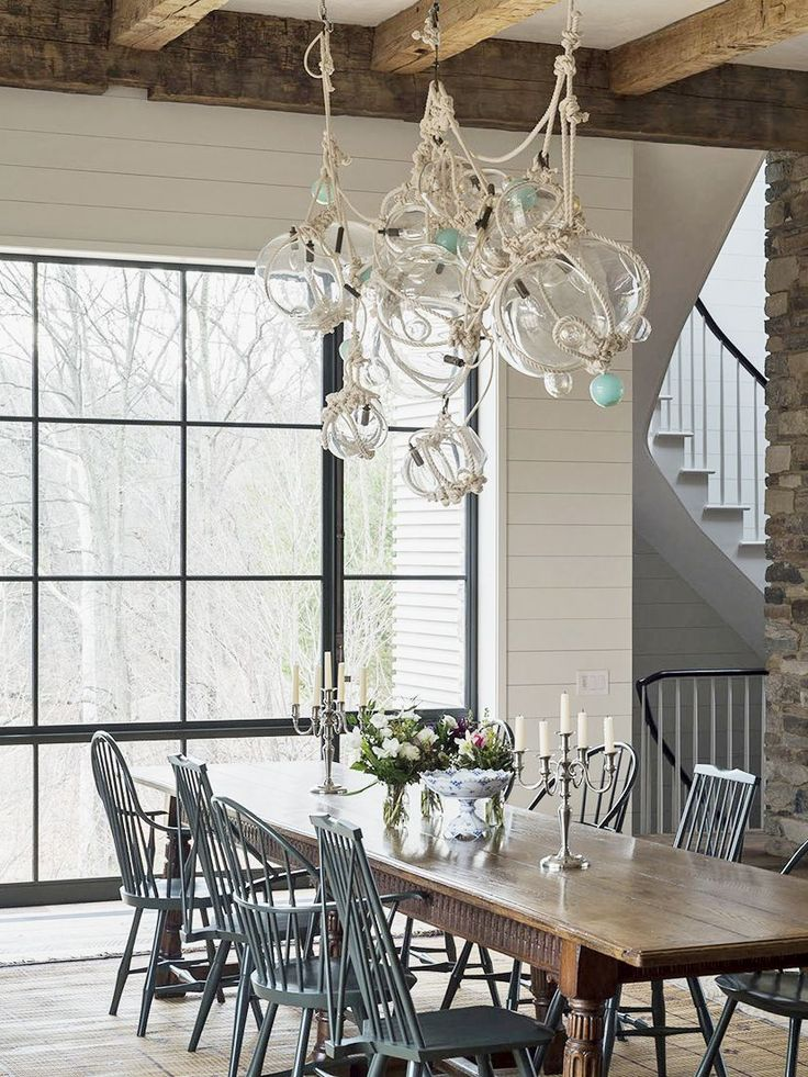 Coastal Chandelier Dining Room
