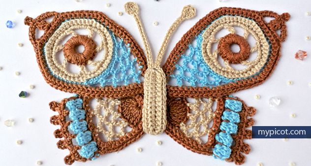 MyPicot #7009| Free crochet butterfly pattern  - Written pattern & Photo tutorial
