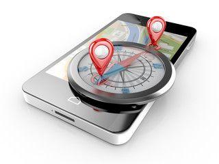smart phone navigation and compass - mobile gps 3d illustration