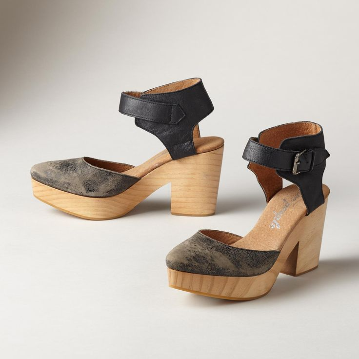 CORDOVA HEELS -- A confident update to the classic clog in washed and  distressed leather atop a sturdy, wooden base. Euro whole sizes 36 to 36  (US 37 (US 38 ...