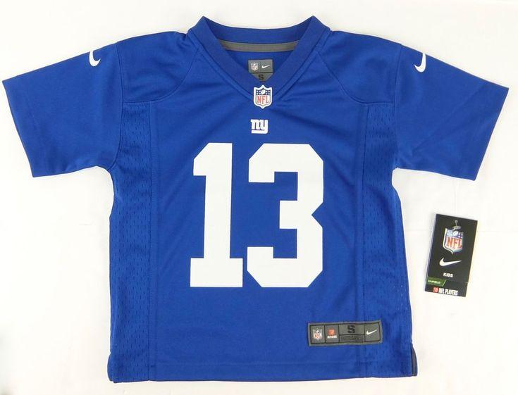 Kids Nike Odell Beckham Jr #13 Jersey Blue Team Color Polyester Boy Size S 4 #Nike #NewYorkGiants