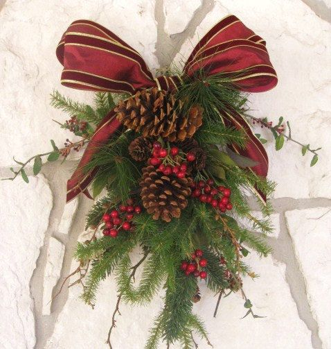 RESERVED LISTING For DEE - Christmas Wreath, Holiday Wreath, Winter Evergreen Christmas Door Swag