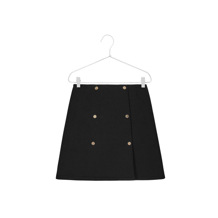 Wrap skirt with a double, gold button closure at the front