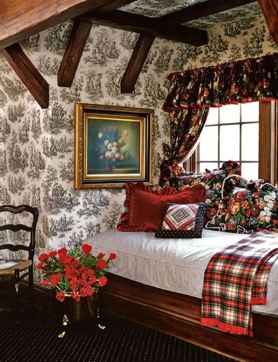 Lovely cottage bedroom - the plaid throw on the bed just ties it all together so beautifully! | Mad for Plaid  | Cottage Bedrooms, Toile and Cottages