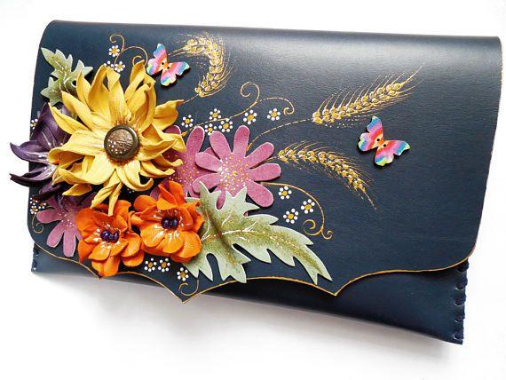 Wildflower painted clutchPoppies daisies clutchFloral