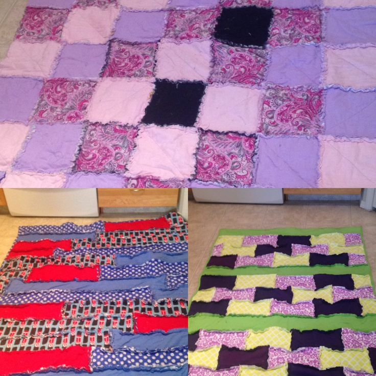Three ragquilts in three different styles