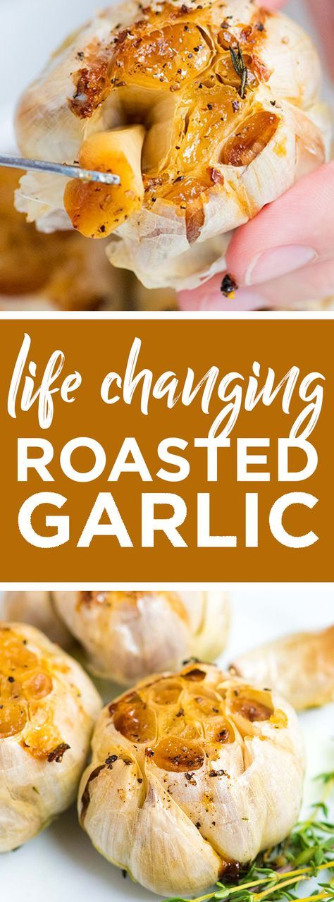 Life-Changing Roasted Garlic Recipe -- Roasted garlic is one of the best things you can make in your oven! It is creamy, sweet and spreadable. We love eating the garlic cloves whole alongside dinner. You can also mash it into butter and spread on toast or add to soups and sauces. Mashing some potatoes for garlic mashed potatoes is also an absolute must. #garlic #dinnerrecipes #vegetarian #vegetarianrecipes #healthyrecipes