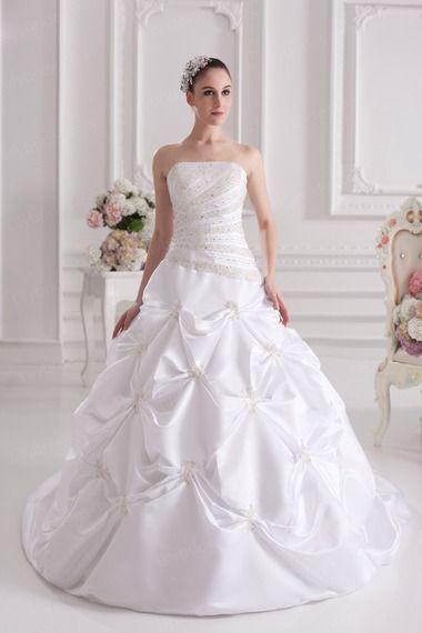 Ball Gown Strapless Satin Taffeta Chapel Train Beading Wedding Dress