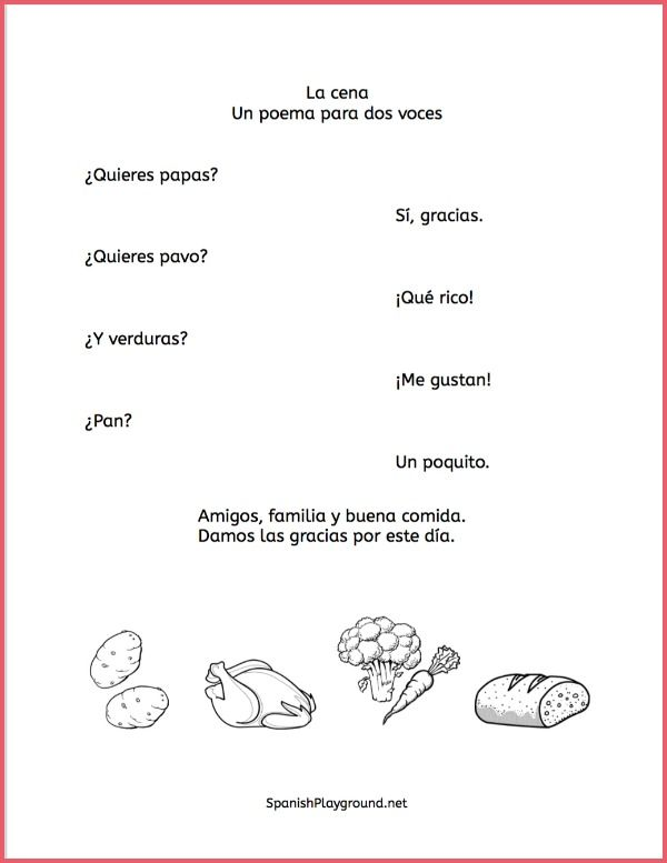 Spanish Thanksgiving Poems To Act Out Se Habla Espanol