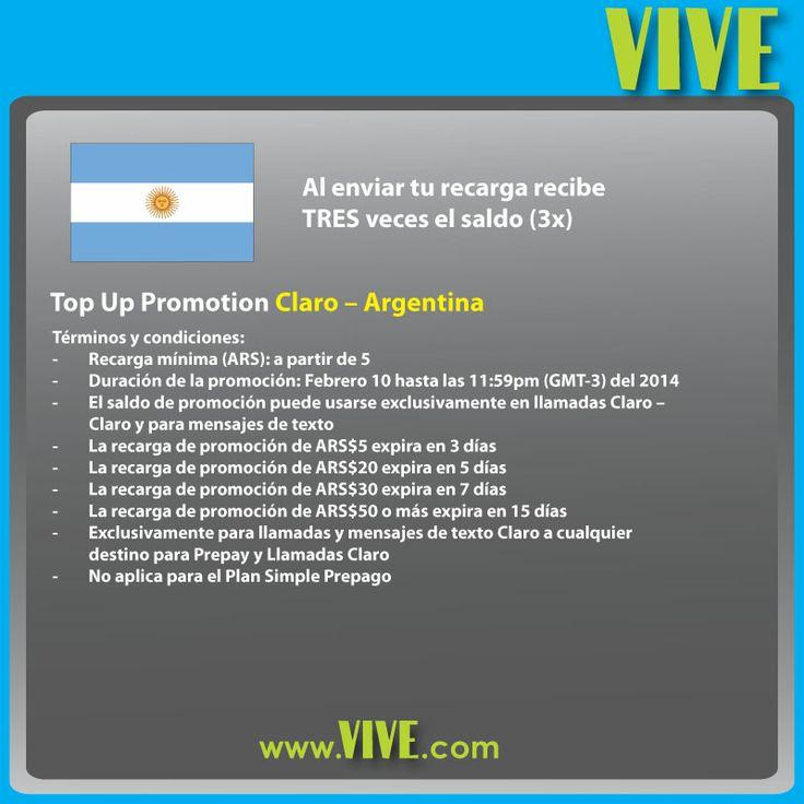 Envía una recarga internacional #Claro #Argentina en www.vive.com y obtén saldo triple para llamar todo lo que quieras!