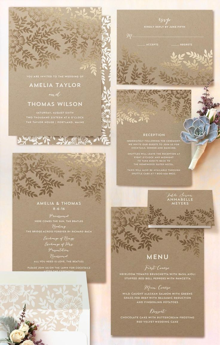 how to put guest names on wedding invitations%0A Autumn Wedding  Gold Botanicals on Kraft Paper  Wedding Invitations by  Katharine Watson for Minted