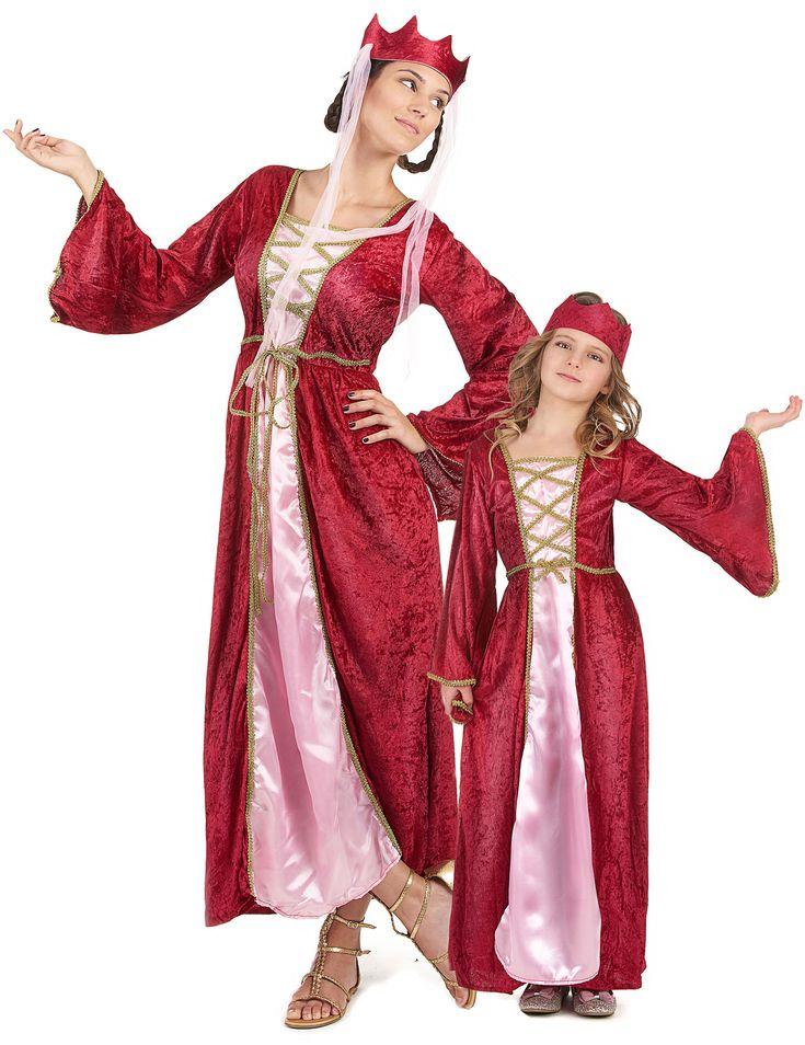 Mittelalter-Königin-Paarkostüm für Mutter und Tochter: Mittelalter - Königin - Kostüm für DamenDieses Mittelalter - Königin - Kostüm für Damen besteht aus einem langen fuchsienfarbenen Kleid in Velouroptik und...