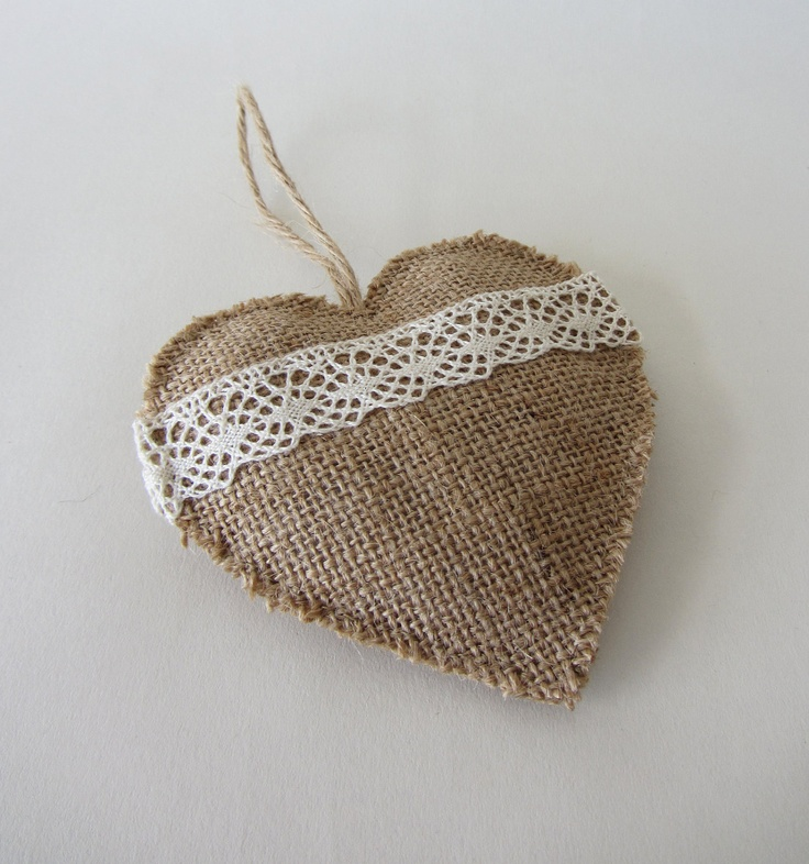 Natural burlap and lace love heart ornament with jute hanging loop - for rustic country living home decor. €12.00, via Etsy.