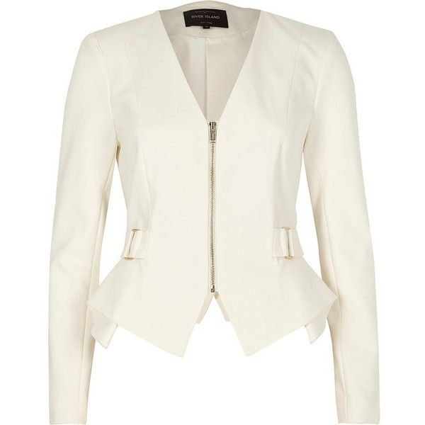 River Island White zip up smart peplum blazer ($120) ❤ liked on Polyvore featuring outerwear, jackets, blazers, coats / jackets, white, women, white blazers, white jacket, white peplum jacket and long sleeve blazer