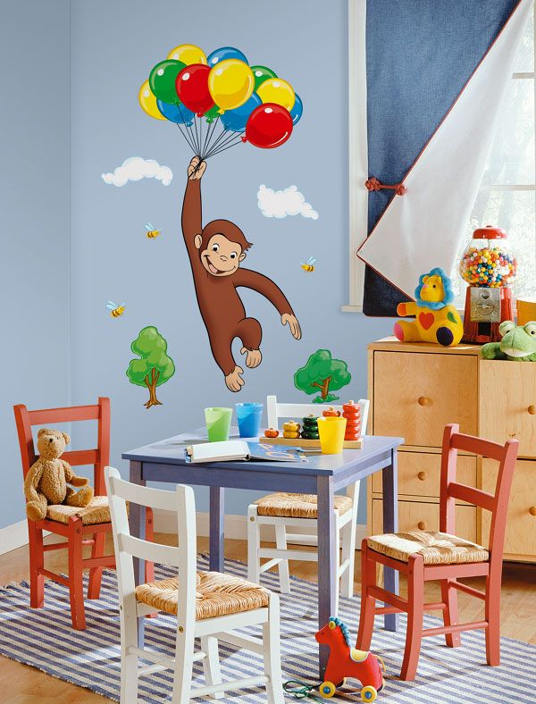 1000 ideas about curious george bedroom on pinterest for Curious george giant wall mural