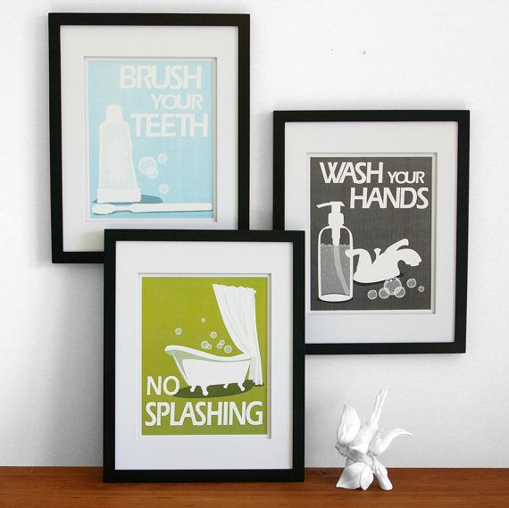 for the kids bathroom, bathroom art prints from Paper Llama's on etsy