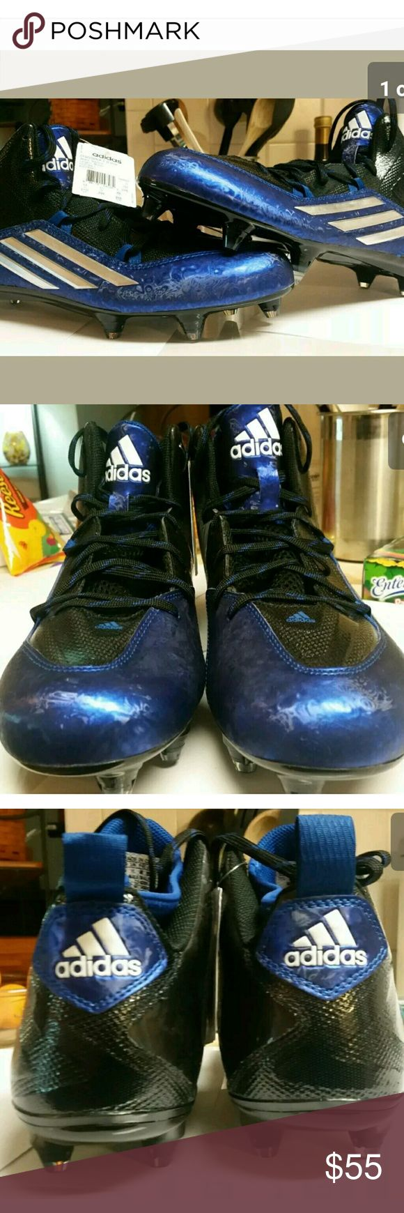 ADIDAS FOOTBALL CLEATS SIZE 11.5 CRAZYQUICK 2.0 MEN'S Adidas Crazyquick 2.0 Mid Football Cleats Blue Black   GREAT FOOT BALL CLEATS WRITTEN THROUGH OUT THE BLACK ARE MOTIVATIONAL SAYINGS LIKE CONFIDENT,PLAY FASTER,ELUSIVE,DRESS LOUDER,SPEAK LOUDER TO HELP YOU ALWAYS STAY IN THE GAME!!   US 11.5   CHECK ALL MY OTHER ATHLETIC LISTINGS FOR A POTENTIAL BUNDLE FOR EXTRA SAVINGS!  ITEM WILL COME BOXED PROFESSIONALLY!!!!!   CHECK ALL MY REVIEWS BUY WITH COMPLETE CONFIDENCE!!!!!   I AIM FOR THE BEST…