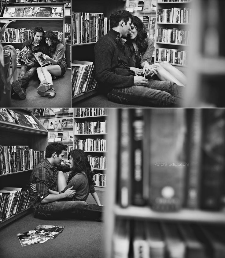 Engagement photo shoot in a library.