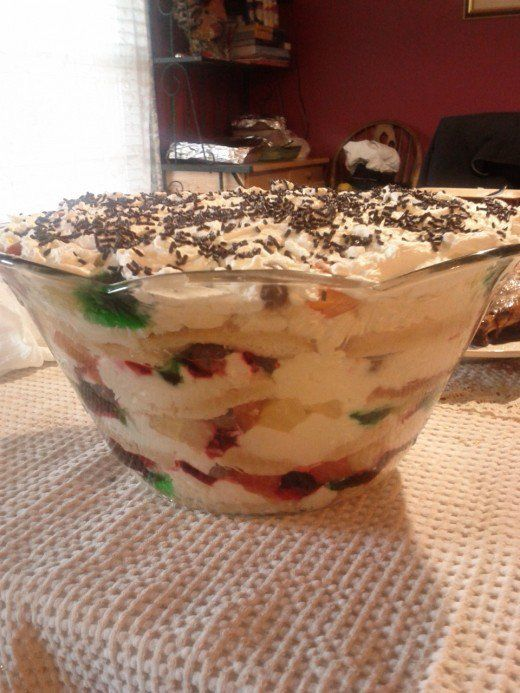 South African Christmas Trifle : Ribbons Of Red And Green Jello