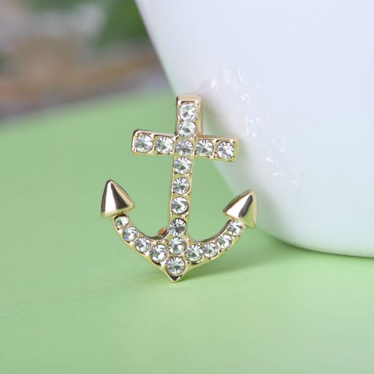 Blucome Anchor Brooches for Collar Tips Gold Plated Crystals Brosche Lapel Pins Badges Unisex Boutonniere Accessories Broches-in Brooches from Jewelry & Accessories on Aliexpress.com | Alibaba Group