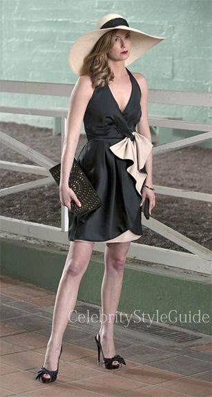 Seen on #Celebrity Style Guide: #Revenge Style & Fashion: Emily Van Camp, as Emily Thorne, wore this black and white v neck halter dress with a bow at the waist on 'Revenge' Episode 'Allegiance'  Get It Here: http://rstyle.me/n/h55esmxbn