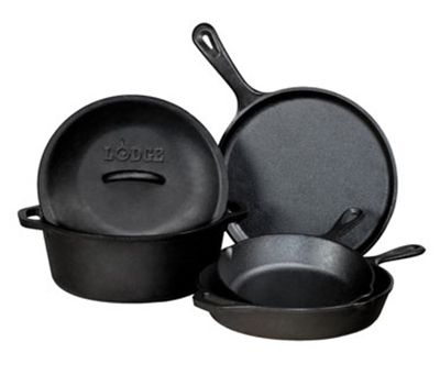 This 5-piece set of Lodge Logic cast iron cookware includes everything you will need to sear, bake, fry, stir-fry, saute, and more. This set includes a 10.5-inch round griddle, an 8-inch skillet, a 10.25-inch skillet, a 5-quart dutch oven, and a 10.25-inch cover for the large skillet and dutch oven. http://www.katom.com/261-L5HS3.html