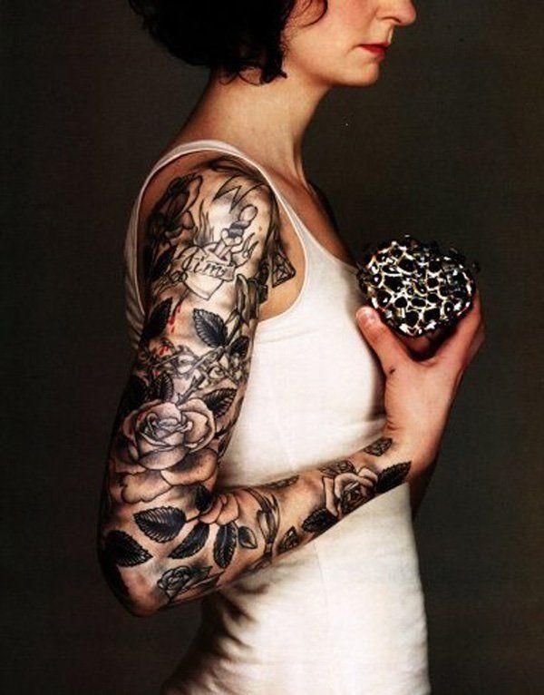 Rose Arm Sleeve Tattoos