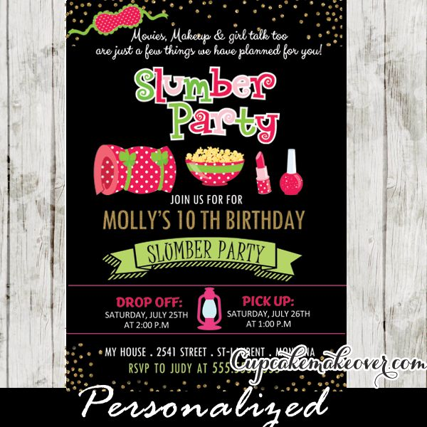 17 best bex invitations images on pinterest birthday party ideas slumber party invitations pink green girls sleepover birthday ideas stopboris