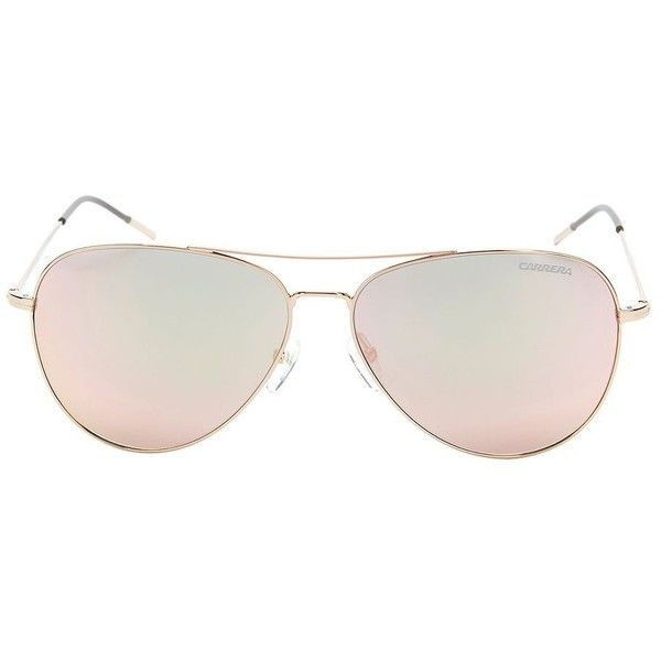 Carrera Women's Rose Mirror Aviator Sunglasses (£105) ❤ liked on Polyvore featuring accessories, eyewear, sunglasses, rose, mirrored aviators, aviator sunglasses, mirror lens aviators, rose gold aviator sunglasses and rose gold mirrored aviators