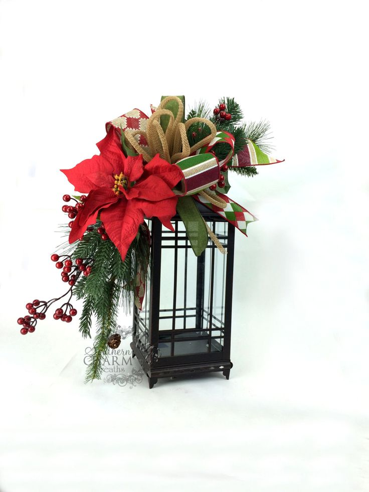 Christmas Lantern Swag in Red Green w Poinsettia Berries Bow Natural Looking Christmas Swag Christmas Mantle Christmas Table Decor by SouthernCharmWreaths $45.00 USD
