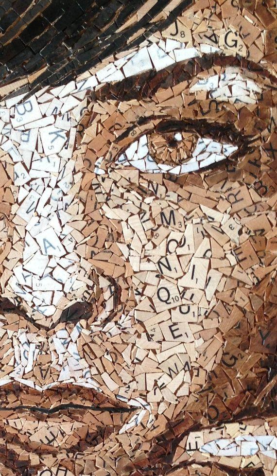 Sepia Scrabble Tile Mosaic by MoniqueSarfityMosaic on Etsy