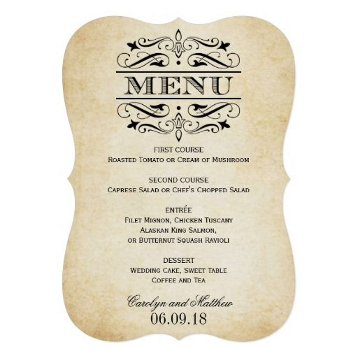65 best Wedding ~ Menu Cards \ Posters images on Pinterest Menu - formal dinner menu template