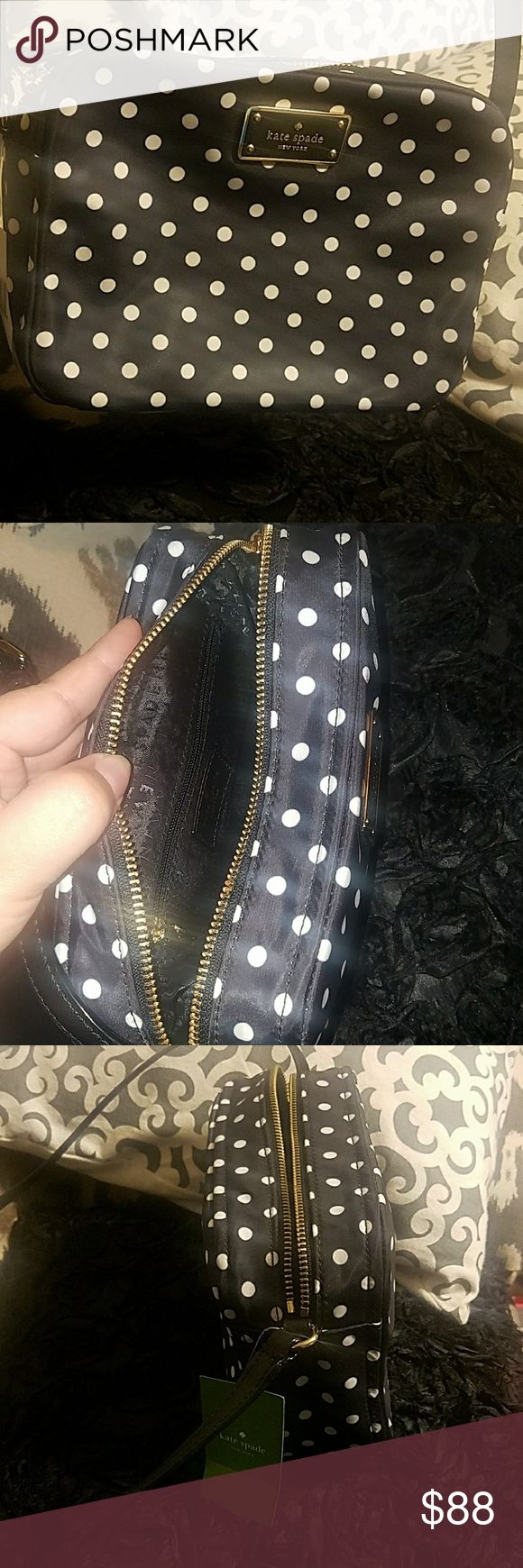 Kate Spade Crossbody Blake Avenue Bag 🖤Adorable pockadots cross body 🖤Great for going out  🖤Brand new with tags  🖤Priced to sell 🖤Material is Nylon  🖤Questions just ask :) I'll be glad to answer  🖤Hint add to a bundle for discounted shipping:) kate spade Bags Crossbody Bags
