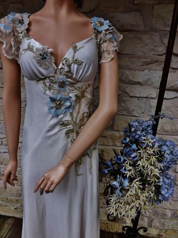 CUSTOM GREAT GATSBY Wedding Dress Of White Velvet Beige Blue Gold Flower  Beaded Bare Back Flapper Art Deco Art Noveau Edwardian Dress