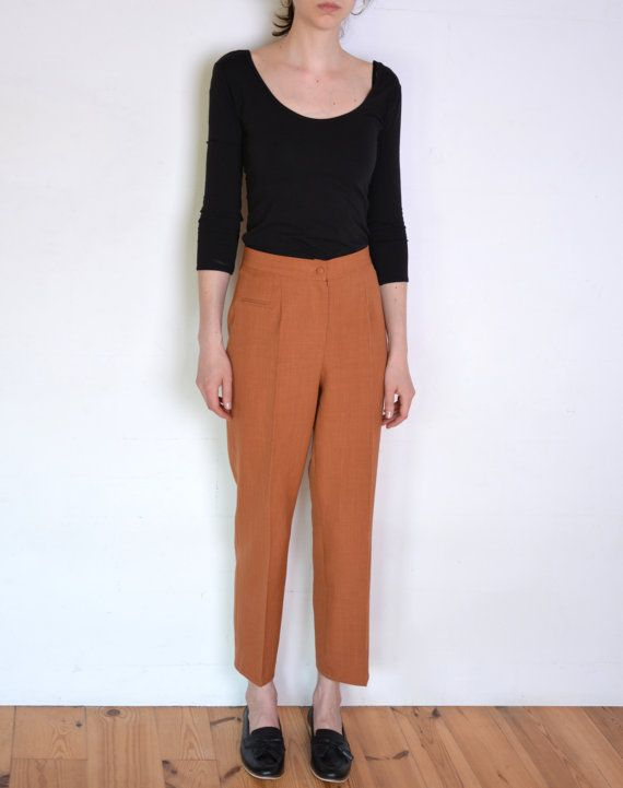 90's brown creased pants classic high waisted by WoodhouseStudios