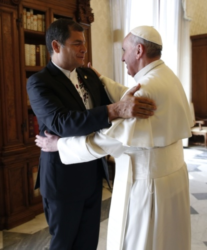 Pope Francis embraces Ecuadors President Rafael Correa at the end of a private audience at the Vatican  April 19.