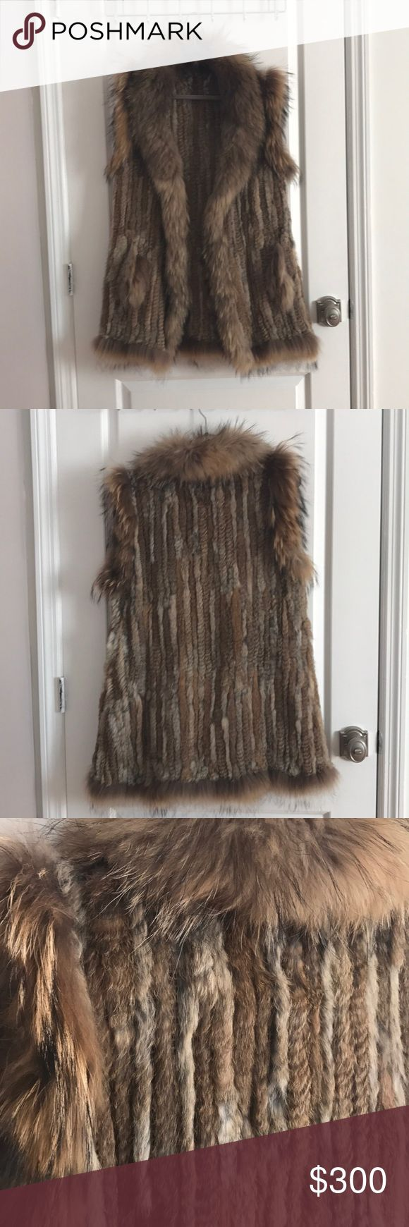 Real Fur Vest - Size L/XL This fur vest is made up of piece of real fur from Rabbit and Marmot. The vest is extremely soft to the touch and looks amazing when paired with jeans and a long sleeve! This fur vest is used but had no signs of damage or wear! Jackets & Coats Vests