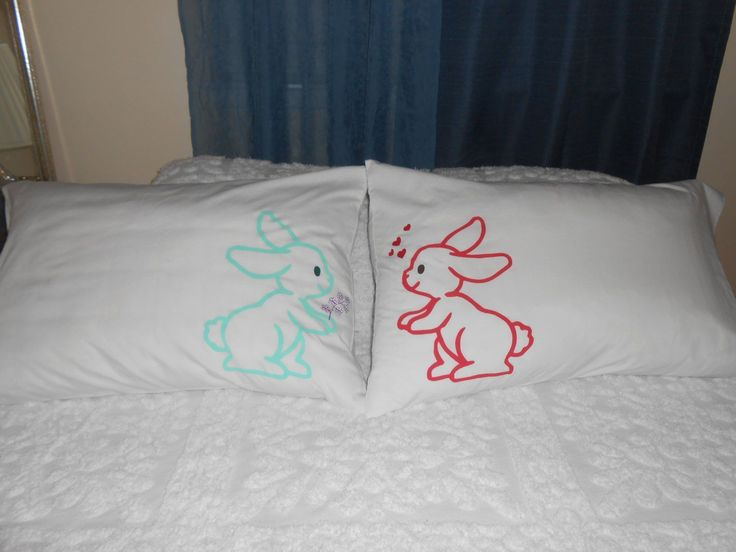 Couples Bedroom Decor, Couples Pillowcases, Hand Painted Love Bunnies – Standard (FREE SHIPPING)