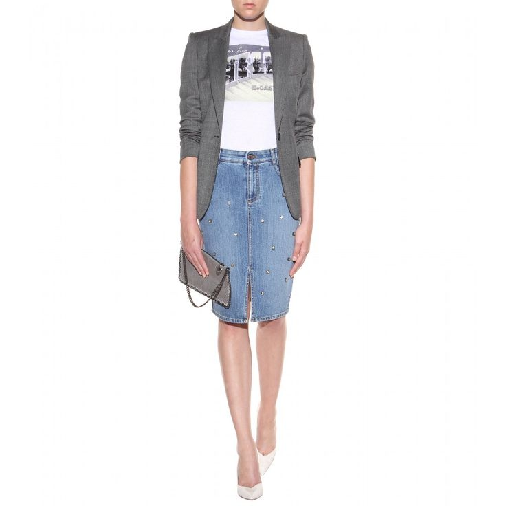 mytheresa.com - Verzierter Jeansrock - Knielang - Röcke - Kleidung - Luxury Fashion for Women / Designer clothing, shoes, bags
