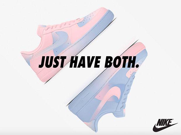 Tênis Nike AirForce 1 com cores Pantone 2016. Conceito da designer Zkay Yong;