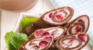 Шоколадные блинчики с творожным сыром