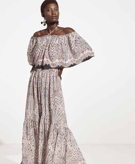 Oysho - Paisley dress with border