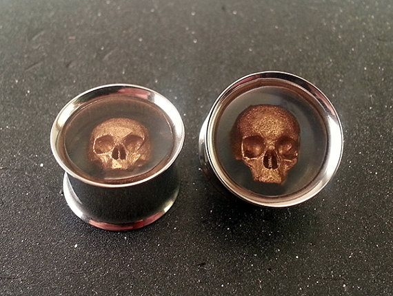 "Skull Ear Plugs  Steel Tunnel 316L - 0g 8mm - 00g 10mm  - 7/16"" 11mm - 1/2"" 12mm - 9/16"" 14mm - 5/8"" 15mm - 3/4"" 19mm - 7/8"" 22mm - 1"" 25mm"
