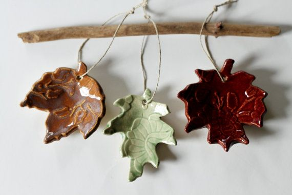 Turning over a New Leaf  Set of 3 Hanging Colorful Ceramic Leaves for Decorating or Ornaments