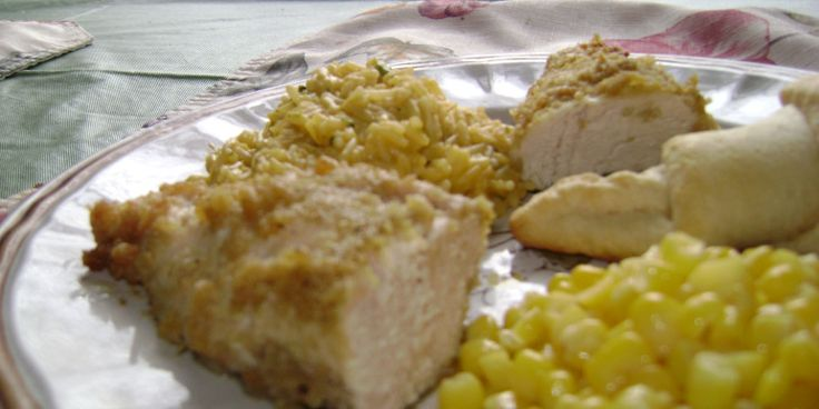 Moist and tender chicken with a nice soft buttery coated breading on the outside. I serve this with a side of chicken flavored rice or noodles and vegetable. My husband first flinched when I told him about the Rice Krispies coating, but loved it when he tried it; you would never know it was cereal coated!