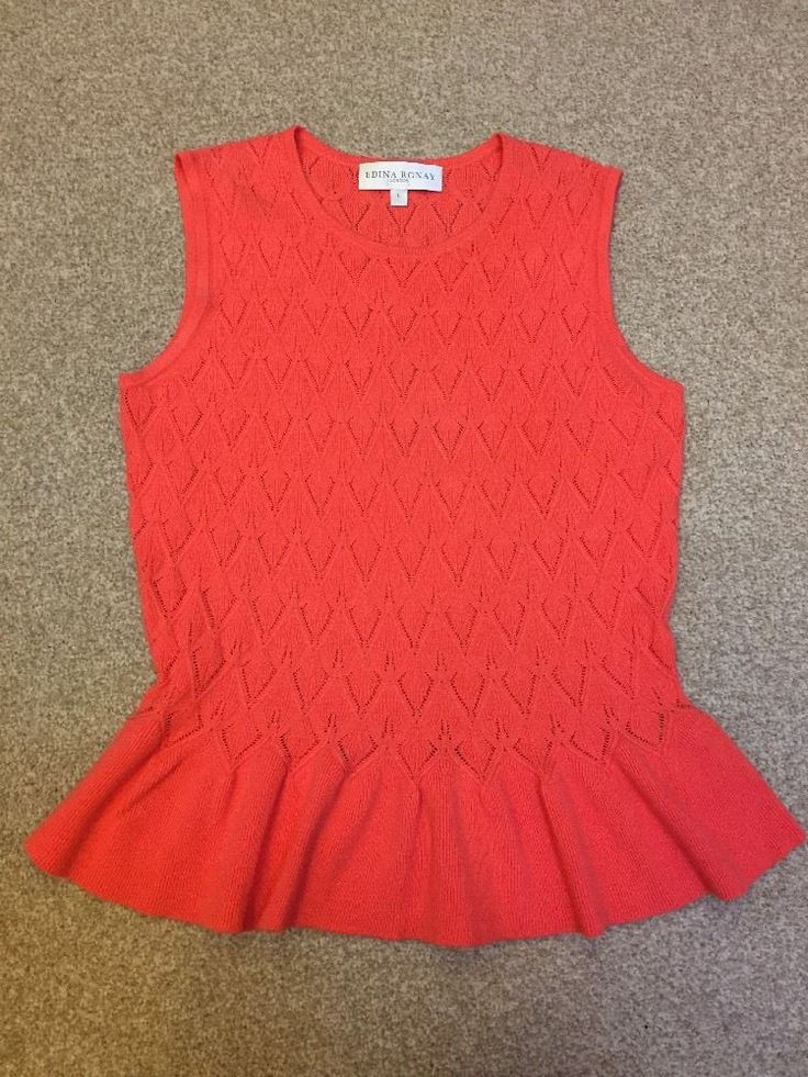 EDINA RONAY London Ladies Tank Top jumper Size L BNWT Coral